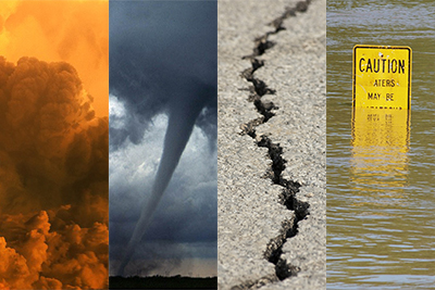 Image of natural disasters - fire, tornado, earthquake and flood.