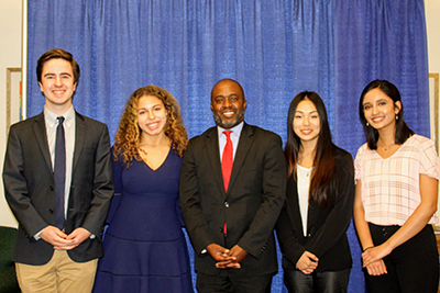 photo of Tony Thurmond and four outstanding high school students