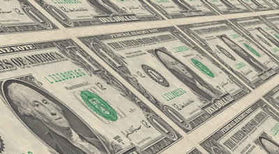 A sheet of dollar bills