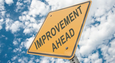 Road sign stating Improvement Ahead
