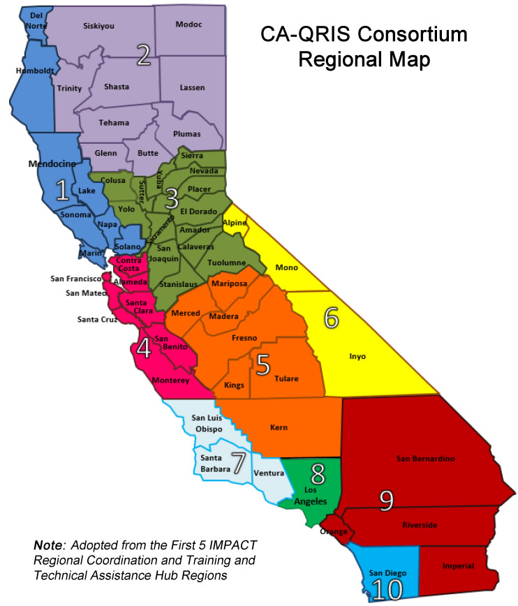 CAQRIS Regional Representatives Quality Rating And Improvement - California counties