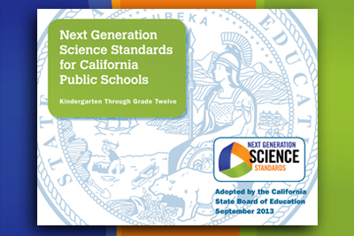 Advertisement for the Next Generation Science Standards for California Public Schools publication.